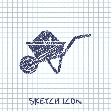 wheelbarrow: Simple icon wheelbarrow
