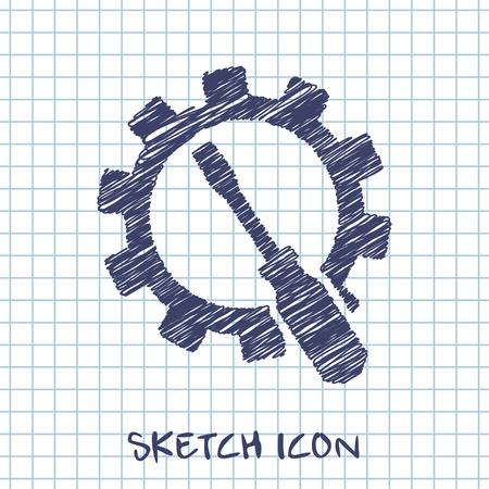 tighten: Screwdriver and gear icon, vector illustration
