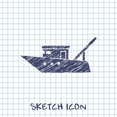 boat motor: Motor fishing boat icon or sign, vector icon