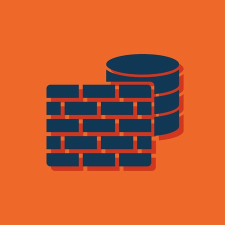 cylinder lock: icon of firewall Illustration