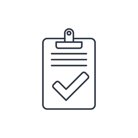 finished: Quality control related vector outline icon. Pass