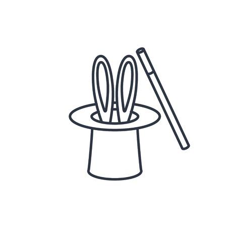 hat trick: Magic trick rabbit in black hat cylinder outline icon