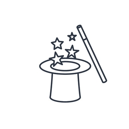 magical equipment: Vector magic hat and wand with sparkles outline icon