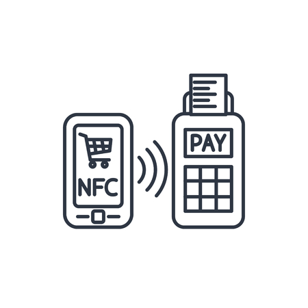 nfc: nfc payment from mobile phone outline icon