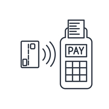 paying: Card paying wirelessly over POS terminal. Vector outline icon.