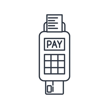 spending: Credit card payment, chip reading outline icon
