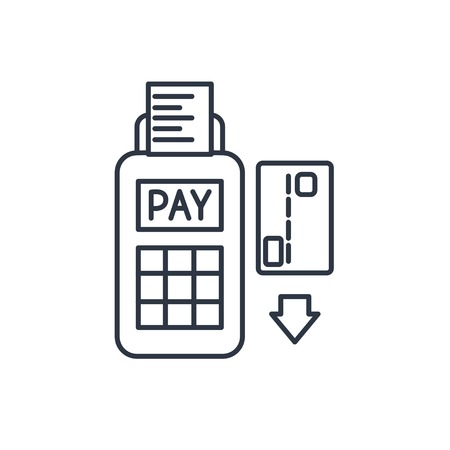 card payment: Credit card payment, magnetic stripe reading outline icon