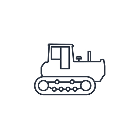 land development: Bulldozer outline icon Illustration
