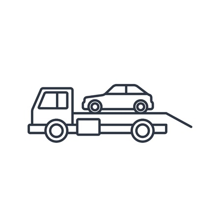 tow car: Tow car evacuation outline icon Illustration