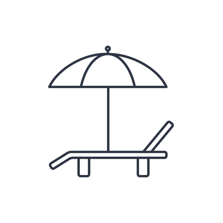 deck chair: Beach vector outline icon. Umbrella with deck chair