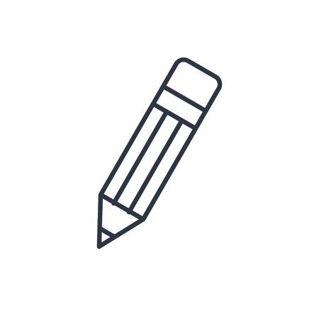 eraser mark: outline icon of pencil Illustration