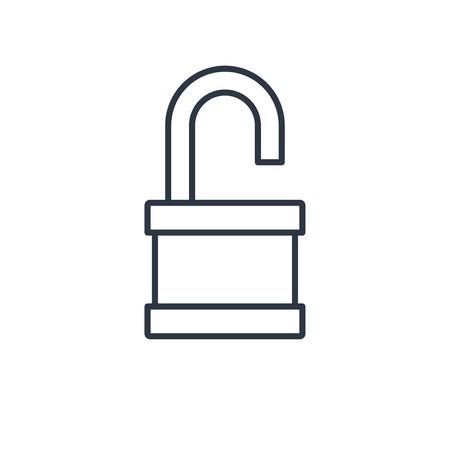 secret codes: outline icon of opened padlock Illustration