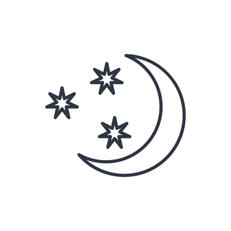 night: outline icon of starry night Illustration