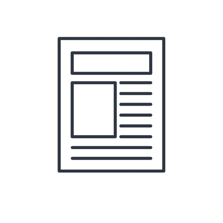 outline icon of newspaper article Stock Illustratie
