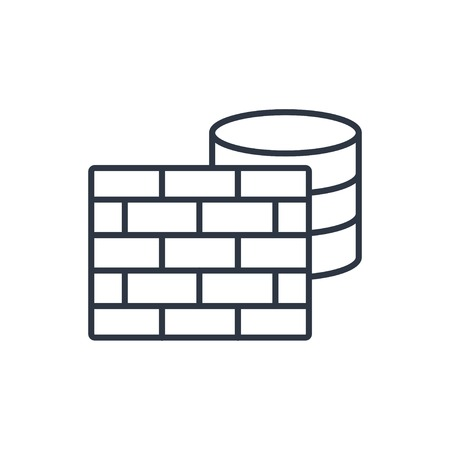 cylinder lock: outline icon of firewall and database Illustration