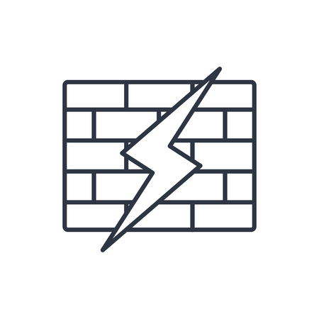 firewall: outline icon of broken firewall