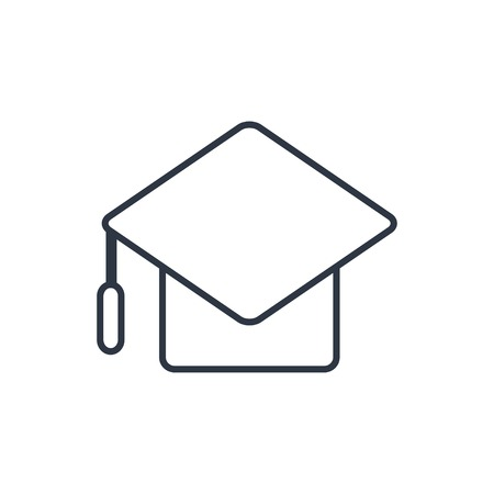 master degree: outline icon of academic hat