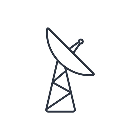 microwave antenna: outline icon of dish antenna Illustration