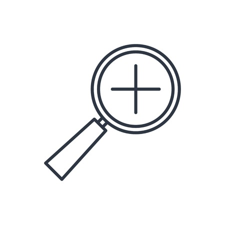 zoom in: outline icon of zoom in magnifying glass