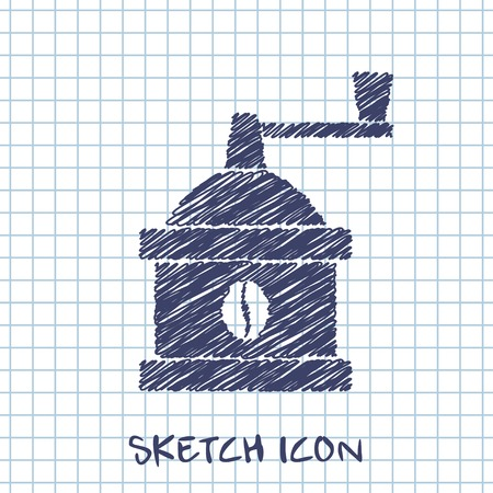coffee mill: kitchen doodle sketch icon of coffee mill