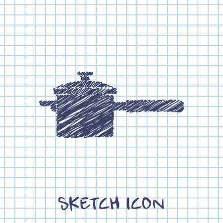 kitchen doodle sketch icon of pan Illustration
