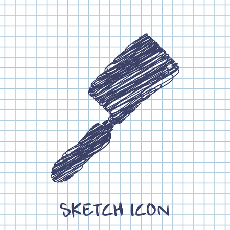 meat chopper: kitchen doodle sketch icon of meat cleaver knife