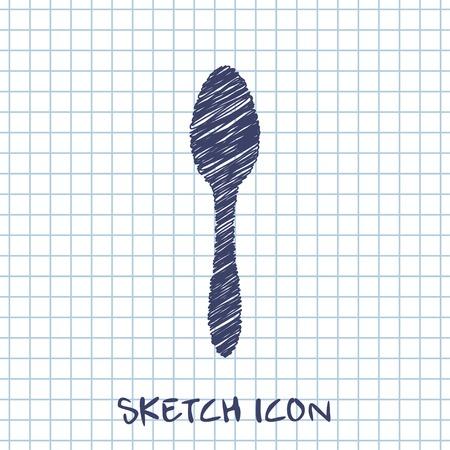 teaspoon: kitchen doodle sketch icon of spoon