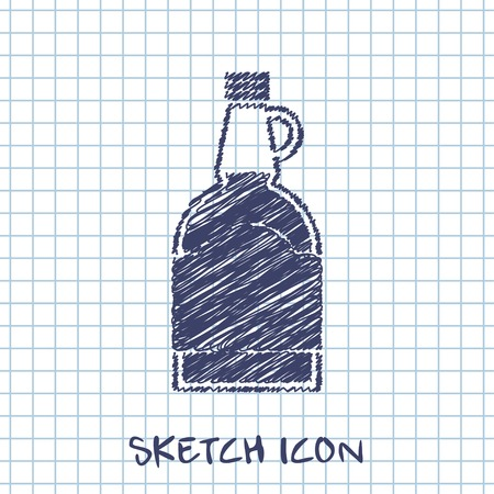 sweetness: kitchen doodle sketch icon of mapple syrup bottle Illustration