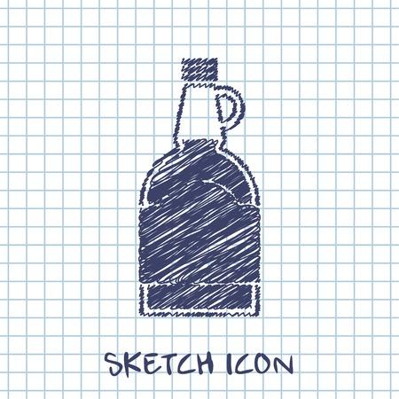 sap: kitchen doodle sketch icon of mapple syrup bottle Illustration