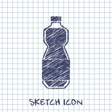 oil bottle: kitchen doodle sketch icon of oil bottle Illustration