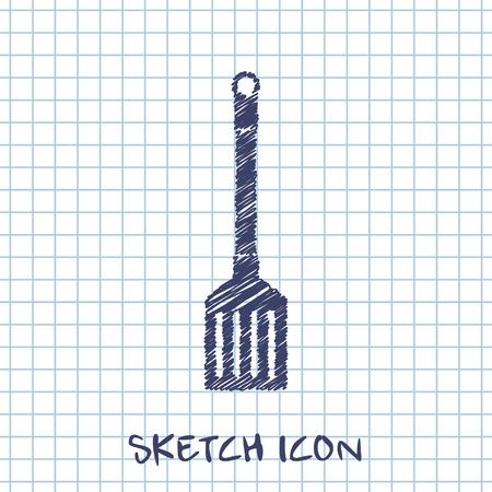 heatproof: kitchen doodle sketch icon of cooking scoop