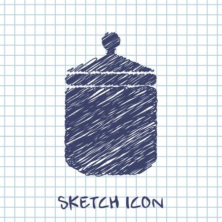 pickle: kitchen doodle sketch icon of jar