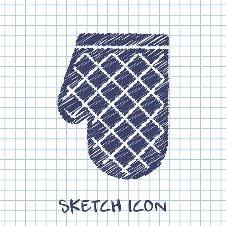 protective clothing: kitchen doodle sketch icon of potholder Illustration
