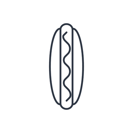 dog outline: Vector hot dog outline icon. Food symbol