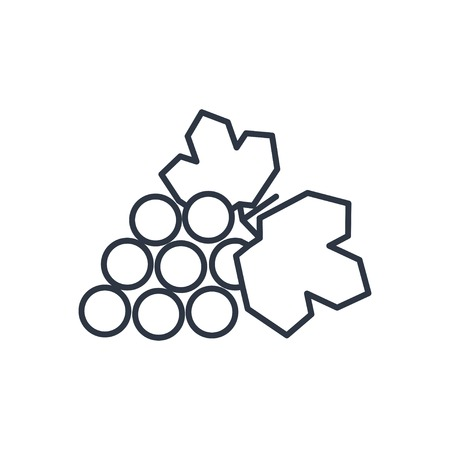 peasant household: Vector grape outline icon. Food symbol