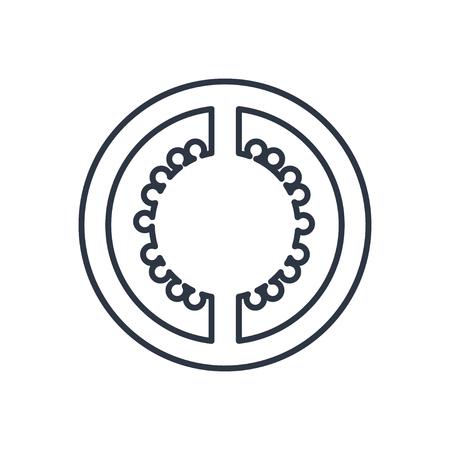 tomato slice: Vector tomato slice outline icon. Food symbol