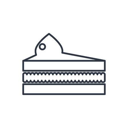porcion de pastel: pedazo del vector del icono del contorno de la torta. símbolo de alimentos