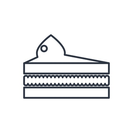 cake slice: Vector piece of cake outline icon. Food symbol