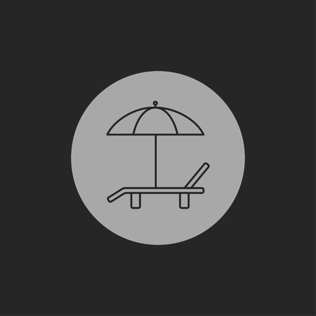 brolly: Beach vector icon. Umbrella with deck chair