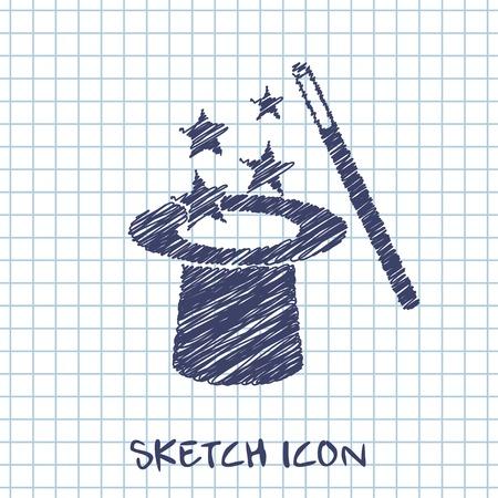 sombrero de mago: Vector sombrero mágico y varita con destellos