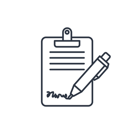 checklist: Clipboard with sign and pen icon Illustration
