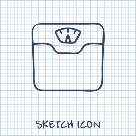 analog weight scale: Vector bathroom weight scale icon
