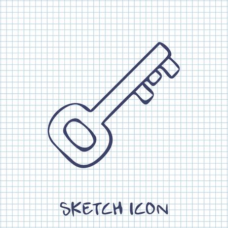 oude sleutel: Oude sleutel icoon Stock Illustratie