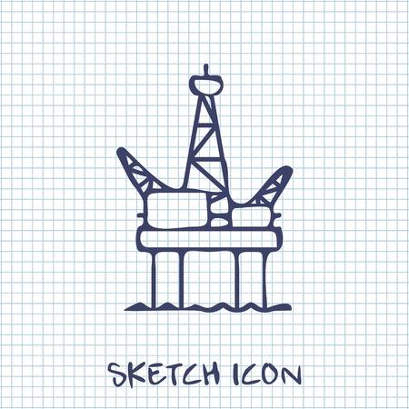 information extraction: Oil platform icon Illustration