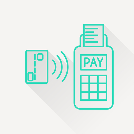 wirelessly: Card paying wirelessly over POS terminal. Vector icon.