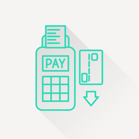 cashless payment: Credit card payment, magnetic stripe reading Illustration