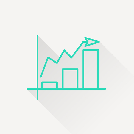 escalate: Growing bars graphic icon with rising arrow Illustration