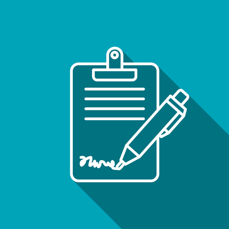 task list: Clipboard with sign and pen icon Illustration