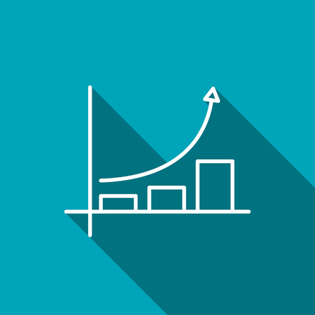 increasing: Growing bars graphic icon with rising arrow Illustration