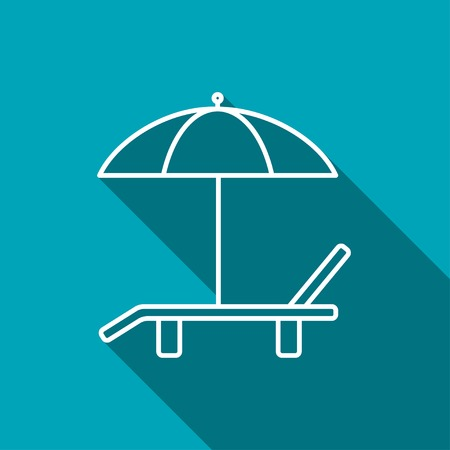 brolly: Beach vector icon. Umbrella with deck chair